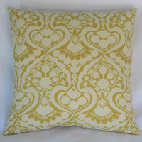 """Gold Damask Print Pillow Cover, 17"""" Square Cotton,  Mustard Yellow & Cream Floral Scroll Medallion All Cotton"""