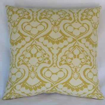 "Gold Damask Print Pillow Cover, 17"" Square Cotton,  Mustard Yellow & Cream Floral Scroll Medallion All Cotton"