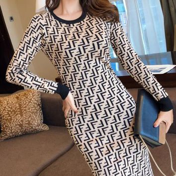 FENDI Fashion Women Sexy Temperament Knit Sweater Jacquard Long Sleeve Dress