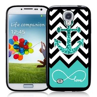 Galaxy S4 Case - S IV Case - Infinite Love Teal Glitter Anchor Samsung Galaxy i9500 Case Snap On Case (multi)