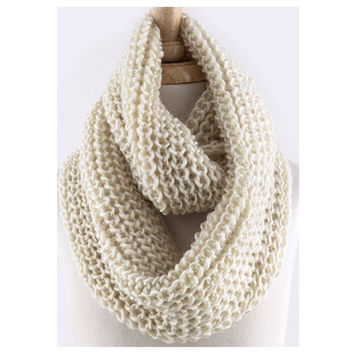 """""""Love the Classic""""Crochet Big Thick Ivory Infinity Scarf"""