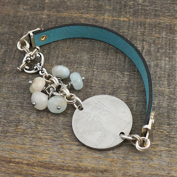 Italian coin bracelet, Italy 100 lira, aquamarine beads, turquoise color leather, 8 1/4 inches