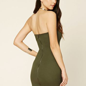 Strapless Zip-Front Mini Dress