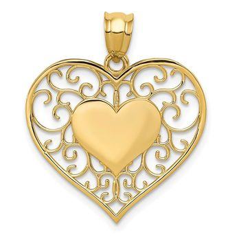 14K Yellow Gold Heart in Heart Polished & Filigree Pendant