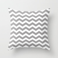 Grey Chevron Throw Pillow by productoslocos | Society6