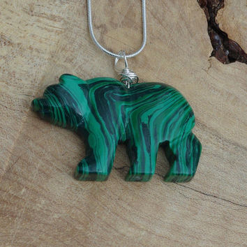 Malachite Stone Bear Necklace ~  Green Stripe Stone ~ Large Stone Bear Pendant ~ Healing Stone  ~ Sterling Silver Chain ~  Forest Green