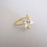 Solid Gold Flower Ring with Blue Topaz - flower ring , gemstone ring , engagement ring , for her , blue topaz ring , light blue