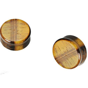 Pair of 1 Inch 25mm Tiger's Eye Stone Ear Plugs Gauges
