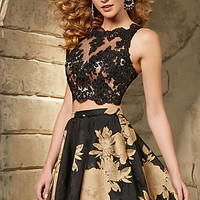 Illusion Sweetheart Two Piece Dress by Mori Lee