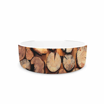 "Susan Sanders ""Rustic Wood Logs"" Brown Tan Pet Bowl"