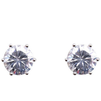 Cubic Zirconia Earrings Round Silver Plated Stud 12mm