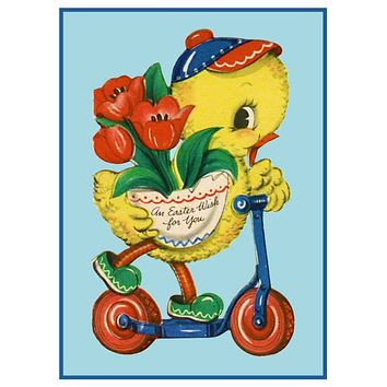 Vintage Easter Baby Duck Riding a Scooter Counted Cross Stitch Pattern