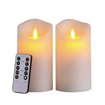 "Pair of 6"" tall LED Flameless candle w/ remote"