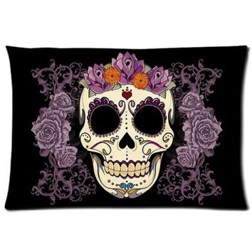 Custom Pillow Cover Cute Unique Pink Floral Sugar Skull art Custom Zippered Pillow Cases