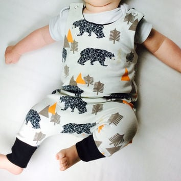 Harem style baby romper, hipster baby romper, organic baby clothes, baby sweat overall, winter baby clothes, organic baby boy romper