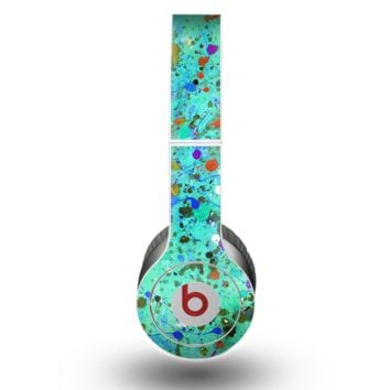 The Trendy Green with Splattered Paint Droplets Skin for the Beats by Dre Original Solo-Solo HD Headphones