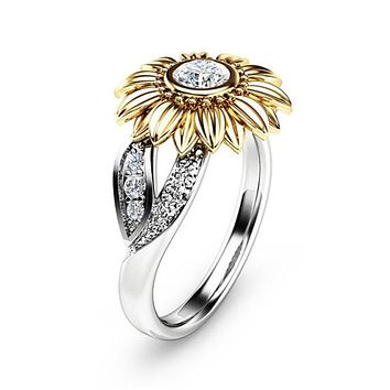 Women Sunflower Silver Ring
