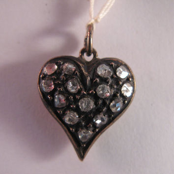 Vintage Diamond Heart Pendant  9k Gold - Valentine Gift - FREE Chain 9k Yellow Gold