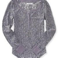 Sheer Floral Lace Henley
