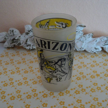 Arizona Souvenir Frosted Glass Tumbler 1950's Memorabilia US State Map of Arizona Made by Hazel Atlas Glass Company