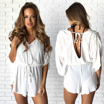 Sweet Sunshine Cover Up Romper In White