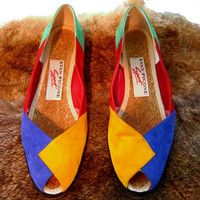tEMPSALE EVAN PICONE Sport Suede Wedge Size 7 Shoes 80s Heel Espadrille Twine Leather Peep Toe Slip On Color Block Colorblock Primary Color