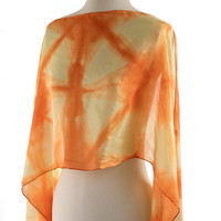 onion dyed scarf geometric, naturally dyed silk shawl, burnt orange amber scarf, block pattern shibori dyed, ecological gift for her