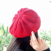 Red Hat Beanie,Knit Beanie, Hand Knitted Beanie, Gift for Her