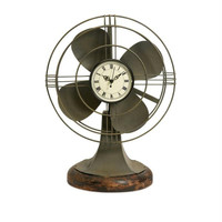 Table Fan With Clock - Vintage Look