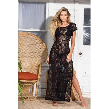Sheer Crochet Netting Long Cover Up Beach Dress