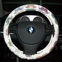 Patterned Mustaches on Cream for Your Cars Steering Wheel
