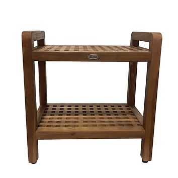 Ala Teak Ergonomic Stool Bench With Shelf and LiftAide Arms Mobility Safety Seating Transfer Products Shower Bath Safety Seating Transfer Products