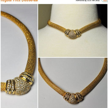 ON SALE Vintage CHRISTIAN Dior Gold Mesh & Rhinestone Choker Necklace, Pave Rhinestone Focal, Snap Close, Exquisite! #a574a