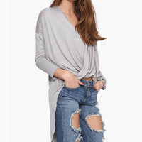 Deep-V Ruched Long Sleeve Blouse