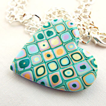 Millefiori Necklace, Heart Pendant, Polymer Clay Jewelry, Fimo Necklace, Millefiori Cane Necklace, Silver Chain Necklace, Handmade Cane