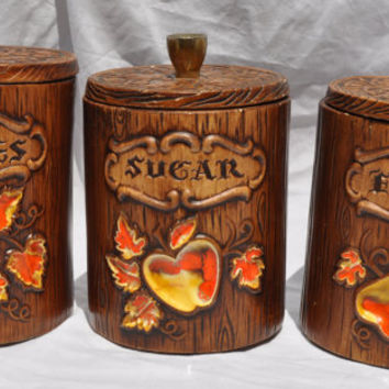 Vintage Treasure Craft Canister Jar Set, Wood Log with Apple and Pear with Foliage Design, Handmade Cookie, Sugar, Flour Retro