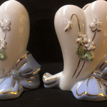 Pair of Sweetheart McCoy Vases with Flowers and Sweetheart Blue Bow (329)