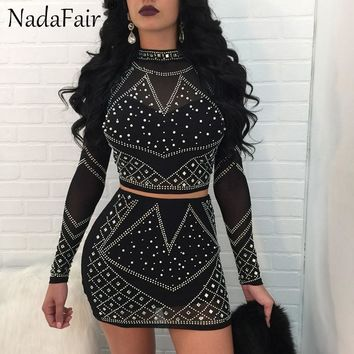 Nadafair Turtleneck Long Sleeve Diamonds Two Pieces Sets Women Sexy Club Party Dress