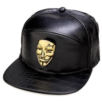 Men Women Rock gifts hip hop hat PU Leather Gold Crocodile Sports Fawkes Fancy Mask Snapback Bling V for Vendetta Baseball Caps