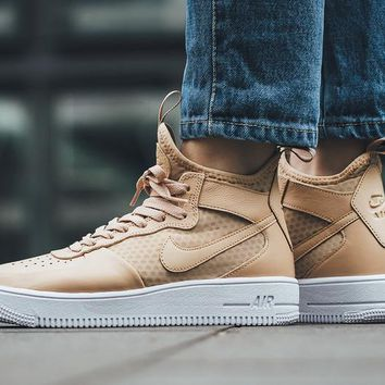 LMFON Nike Air Force 1 Ultraforce Mid 864025-002 Khaki For Women Men Running Sport Casual Shoes Sneakers