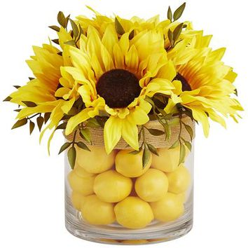 Faux Sunflower & Lemon Arrangement