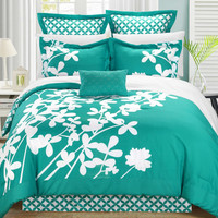 Queen Size Turquoise 7 Piece Floral Bed In A Bag Comforter Set