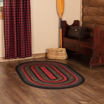 Cumberland Red, Black, Natural Jute Country Cottage Farmhouse Oval Braided Rug