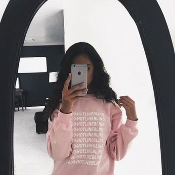 ICIKHY9 2015 Autumn Fashion Pink Fleeced Thick Warm Hoodies Pullovers 800 Hotline Bling Winter Graphic Sweatshirts Women Harajuku Cute