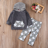 Spring Baby Kids Toddler Boy Girls Clothes Set Hooded Tops Long Sleeve Pants 2pcs Set Cotton Clothing Baby Boys AU