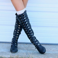 Far From Home Tall Black Buckle Riding Boots