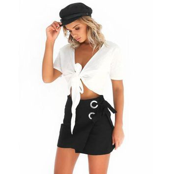 PEAP78W Women Sexy Skirt High Waist Skinny Lace-Up Bandage Short Skirt Party Cocktail Club Asymmetrical Pencil Skirts
