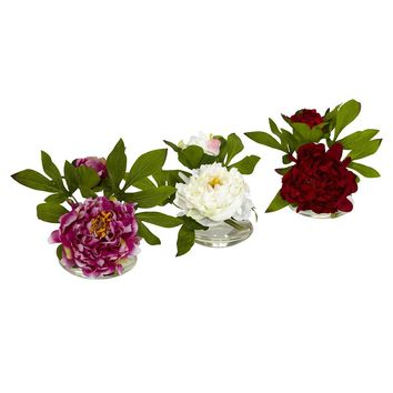 Silk Flowers -Peony With Glass Vase -Set Of 3 Arrangement Artificial Plant