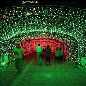 1X Green 10M 100LED 3AA  Battery-powered Wire String Light Outdoor Amazing Atmosphere Decorative LED Lighting String for Holiday