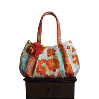 beautiful ORANGE CRUSH / Large Hobo zipper closure & flower / orange, cream, gold turquoise floral fabric bag by: jennjohn